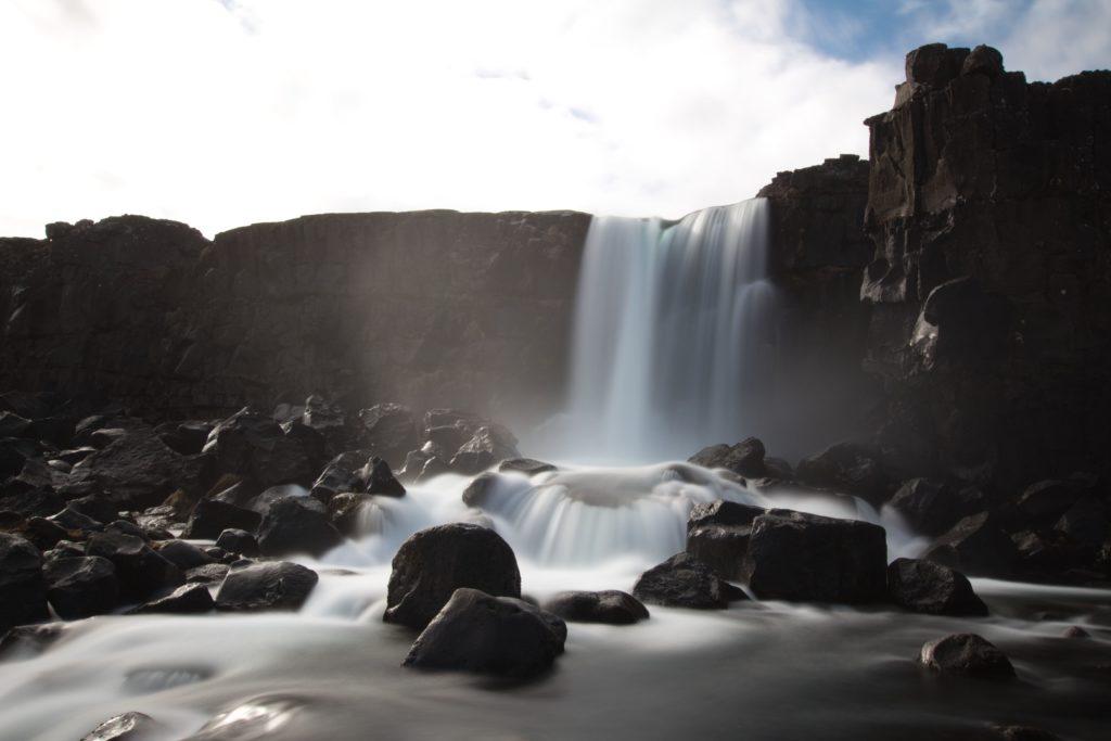 Öxarárfoss-Wasserfall im Pinghvellir, Island
