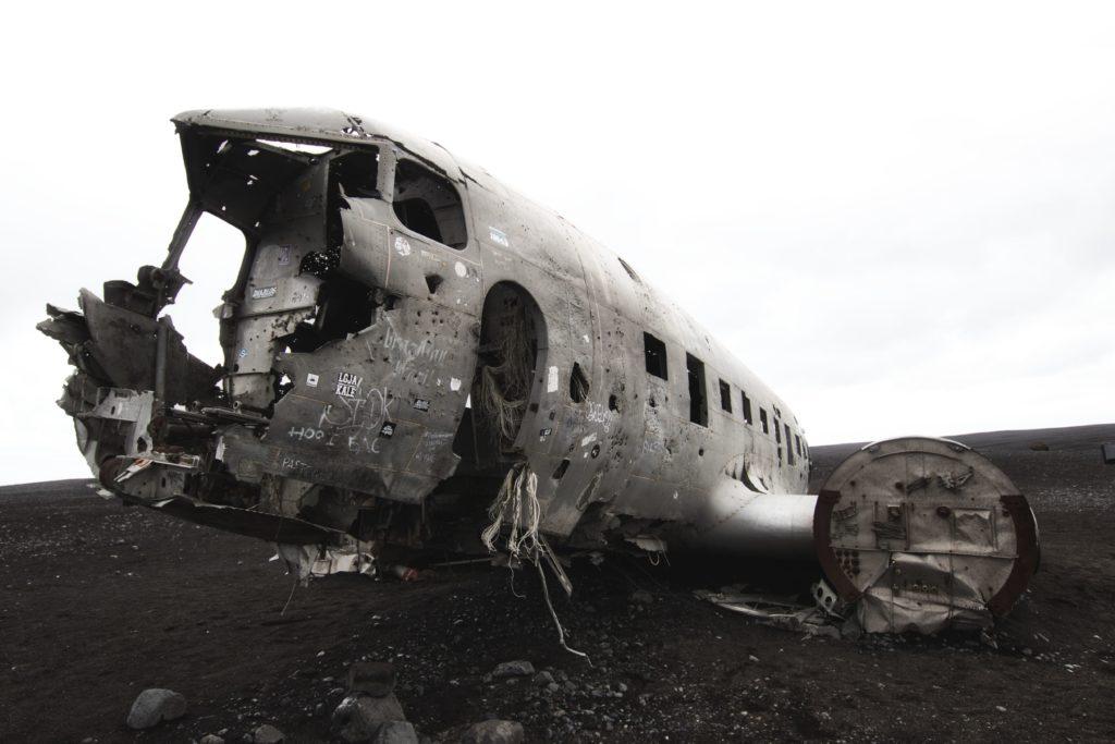 Flugzeugwrack am Strand Solheimasandur